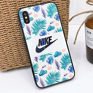 Supreme Champion Nike Adidas Fashion Personality Flower Pattern Aurora Glass Case Mobile Phone Cover Case For iphone 6 6s 6plus 6s-plus 7 7plus iPhone8 iPhone X I12791-1