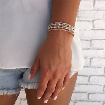Pop Till You Drop Gold Crystal Bracelet