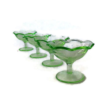 Vintage Depression Glass Sherbet Dishes, Ruffled Edge Glass, Set of Four, Light Green Glassware, Glass Stemware, Dessert Dishes