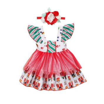 Kids Baby Girl Christmas Clothing Wedding Pageant Party Princess Dresses Sleeve Tulle Bow Tutu Cute Dress Baby Girls