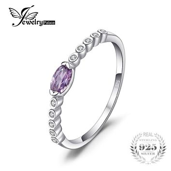 JewelryPalace Classic 0.34ct Created Alexandrite Sapphire Engagements Rings For Women Fashion 925 Sterling Silver Fine Jewelry