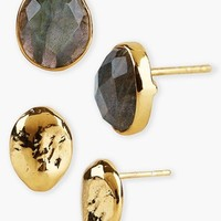 Women's Argento Vivo Boxed Stud Earrings - Gold/