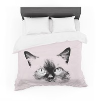 "Suzanne Carter ""Pink Cat"" Black Animals Abstract Digital Mixed Media Featherweight Duvet Cover"
