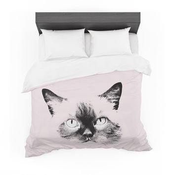 """Suzanne Carter """"Pink Cat"""" Black Animals Abstract Digital Mixed Media Featherweight Duvet Cover"""