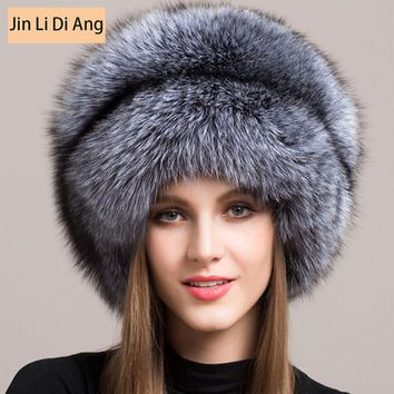 Jin Li Di Ang 2017 Women Mongolian 100% Real Natural Fur Silver Red Fox Hat with Fox Tail  Lady Winter Warm Hats Soft Hairy Cap