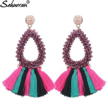 Sehuoran Oorbellen Big Crystal Tassel Drop Earrings For Women Boho Colorful Rhinestone Women Statement Party Jewelry Earrings