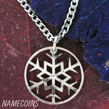 Snowflake Necklace, Winter and snow hand cut coin