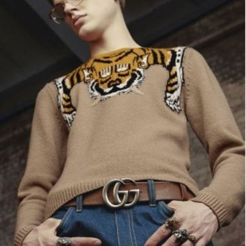 CREYV9O Gucci Fashion Monogram Print Long Sleeve Splicing Knit Pullover Sweater G-G-JGYF