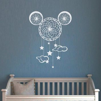 Cartoon Wall Decals Mickey Mouse Vinyl Decal Nursery Dream Catcher Sticker Kids Baby Decoration Sweet Home Bedroom Wall Decor 93