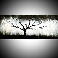 """ARTFINDER: triptych black and white impasto 3 panel wall art color black white tree in wood """"The Wild Wood"""" 3 panel wall abstract canvas abstraction 54 x 24 """" by Stuart Wright - """"The Wild Wood"""" wood black white impasto tree a..."""