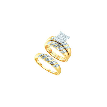 14k Two-tone Gold His & Hers Round Diamond Cluster Matching Bridal Wedding Ring Band Set 1/12 Cttw 41107