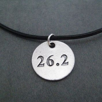 Pewter Round DISTANCE Pendant on Leather and Sterling Silver Chain - Choose 5K, 10K, 13.1 or 26.2