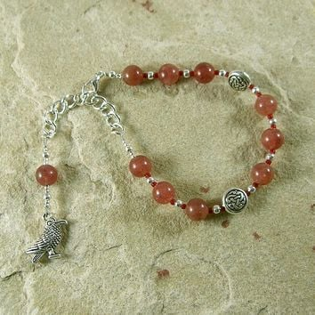 Morrigan Prayer Bead Bracelet in Strawberry Quartz:  Irish Celtic Goddess of War, Death and Sovereignty