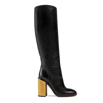 Gucci Women's Black Leather Gold Heel Knee High Boots Shoes