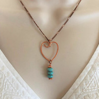 Valentine's Heart Necklace, Semi Precious Stone Necklace, Heart Necklace, Dangle necklace, Copper Heart Necklace, Gift for her