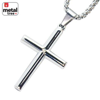 """Jewelry Kay style Silver Plated Stainless Steel Cross CZ Pendant 24"""" Chain Necklace SCP 159 S"""