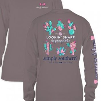 "Simply Southern ""Lookin Sharp"" Long Sleeve- Gray"
