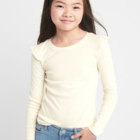 Ribbed long sleeve ruffle tee | Gap