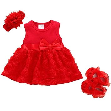 Summer New Born Baby Girls clothes Rose flower dress 1-2years Party Dress  Shoes Set b4f929fb5810