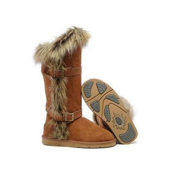 Gotopfashion Ugg Boots Outlet Black Friday Fox Fur tall 1984 Chestnut For Women 95 95