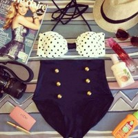Socialite High Waist Swimsuit - Black and White Polka Dot Top and Black Bottoms - Smoky Mountain Boutique