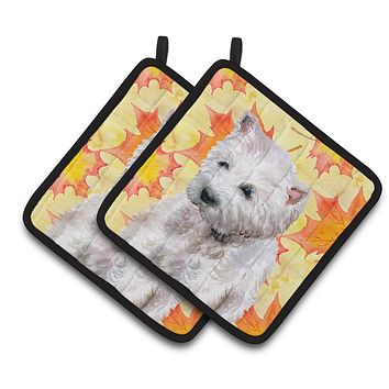 Westie Fall Pair of Pot Holders BB9962PTHD