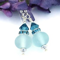 Frosted Aqua Blue Lampwork Earrings, Crystals Handmade Artisan Dangle Jewelry