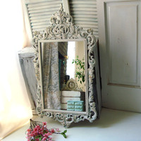 Antique White Ornate Vintage Mirror, Faux Patina Distressed French Farmhouse Mirror, Shabby Chic Home Decor, Big Ornate Cottage Chic Mirror