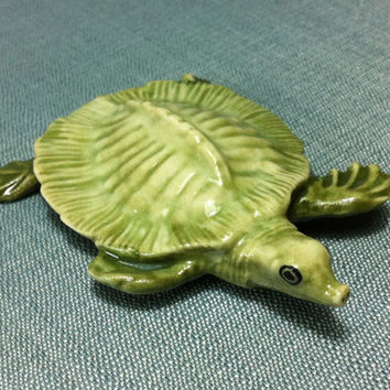 Miniature Ceramic Exotic Turtle Reptile Funny Sea Animal Cute Little Tiny Small Light Green Figurine Statue Decoration Collectible Figure