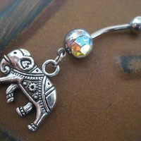 Elephant Belly Button Ring- Choose Your Color Charm Dangle Navel Piercing Jewelry Red Pink Opal