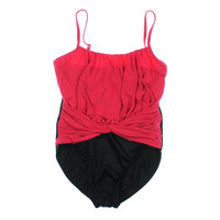 Magic Suit Womens Ruched Colorblock One-Piece Swimsuit