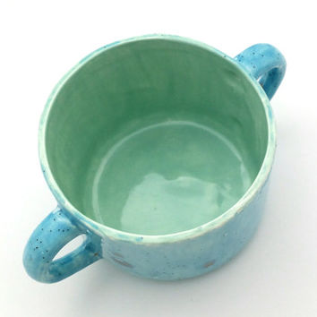 Ceramic hand-glazed teacup with handles, blue and mint