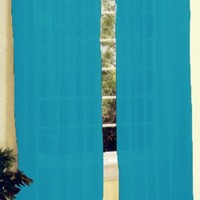 New 2 Pc Sheer Voile Window Curtain Panel Set Turquoise