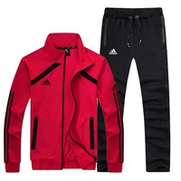 Adidas New fashion letter print stripe men long sleeve coat and pants two piece suit Red
