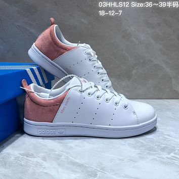 a4d76b443f3 DCCK2 A464 Adidas Stan Smith Suede Leather Casual Skate Shoes Wh