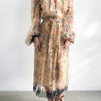 1960s Poet Sleeves Floral Chiffon Dress - S/M