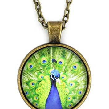 Peacock Bird Necklace Antique Gold Tone NX49 Feathers Illustration Art Pendant Fashion Jewelry