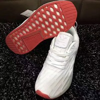 Adidas NMD R2 Running sports shoes white red H-A-GHSY-1