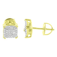 14k Gold Tone Earrings Screw Back Micro Pave Simulated Diamonds Iced Out Mens Studs