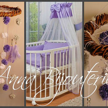 Purple dream Nursery Bаbу Mobile Crib Decor Mobiles bedding Dream Catcher Kids Dream catchers Dreamcatcher bedroom Purple Boho Baby Girl Boy