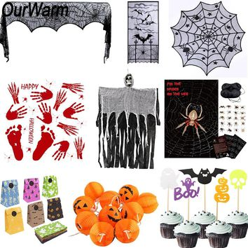 OurWarm Halloween Decorations for Home Halloween Party Set Horror Props Spider Pumpkin Haunted House Decor Event Party Supplies