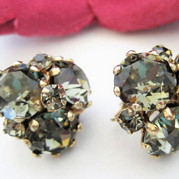 Vogue Rhinestone Earrings,  Signed Faceted Earrings, Green Gray Clip Ons