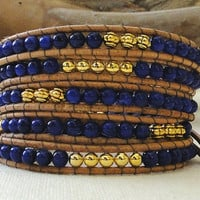 Custom multi wrap leather bracelet 5 five wraps chan luu etnic chic with gold plated Tibetan faceted beads & Buddha charm and GP bell