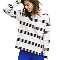 Banana Republic Womens Striped Zip Front Pullover