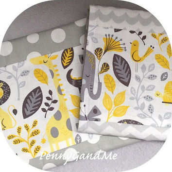 Personalized Jungle Safari Burp Cloths ~ Elephants, Giraffes, Lions, Alligators, Gender Neutral, Minky Cloths, Grey and Yellow Burp Cloths,