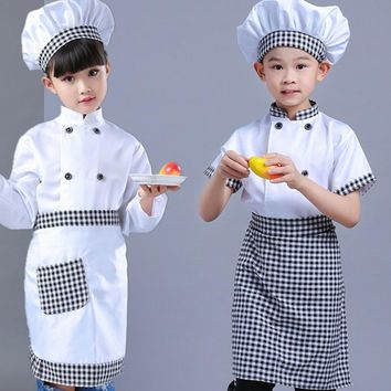 New Kids Chef Costumes Cook's Clothing Boys Cosplay Chef Jacket Apron Hat Set Kitchen Uniform Girls 2-16 Years Clothing