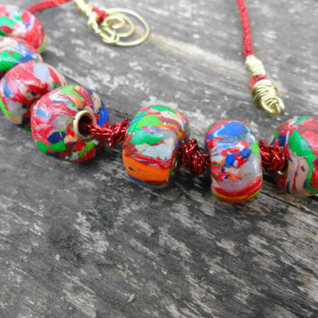 Pandora beads, pandora beads necklace, polymer clay necklace, red necklaces, unique jewelry decorative, handmade, one of a kind jewelry OOAK