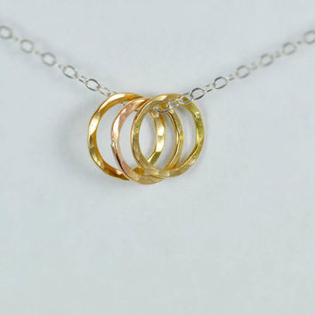 Dainty Hammered Circle Necklace, Gold Circle Necklace, Ring Necklace, Gold Ring Necklace, Dainty Necklace, Best Friends Necklace, mom's