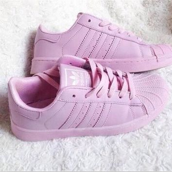 """Adidas"" Fashion Shell-toe Flats Sneakers Sport Shoes Pure color Pink"