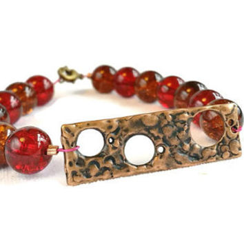 Glass Bead Bracelet, Rustic Boho Jewelry, Red and Brown Warm Tones, Bronze Circles,